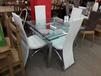 Glass/Metal Dining Table and 4 Leather Chairs