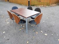 Walnut Veneer Dining Table 130cm & 6 Bentwood & Leather Chairs FREE DELIVERY 235