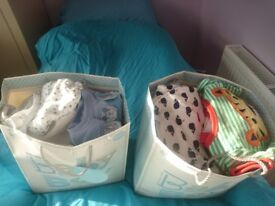 Bundle of 0-3 months baby clothes, 25 vests,9 babygrows/ sleepsuits and 7 outfits