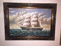 Massive Huge Oil On Canvas Seascape Painting Stunning Gallery Frame Ship