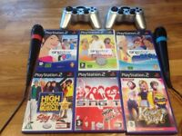 Ps2 Kareoke Set with 6 games and 2 wireless controllers