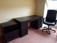 Ikea dark brown desk, storage cupboard and swivel office chair bundle