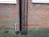 3 carp rods 3 bait runner reels.unhooking mat Dunlop chair carp landing net 3alarms bits and bobs