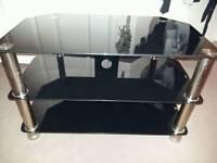 3 tier black glass tv unit
