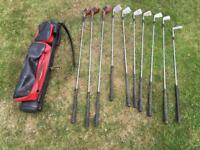 Set of 10 golf clubs plus bag