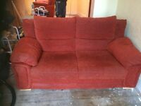 3 Piece Suite for sale with Pouffe. Settee turns into large sofa bed with brand new mattress.