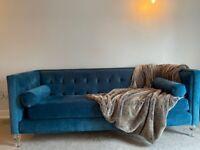 Luxury teal velvet sofa