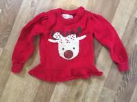 Girls Christmas reindeer jumper age 9-12 months