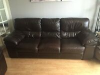 Four seater sofa and a Two seater sofa real leather brown must be gone by saturday best offer