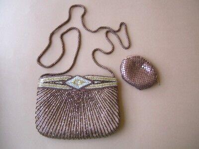 Perlen Bestickte Abendtasche (Braune Handtasche,Abendtasche aus Satin aufwendig mit Glasperlen bestickt)