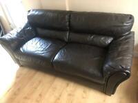 Dark brown part leather 3 seater sofa
