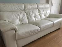DFS 1 x 3 Seater Leather Sofa and 1 x 2 Seater Electric Recliner Leather Sofa