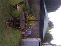 large wooden garden table with three folding chairs parasol and stand can deliver