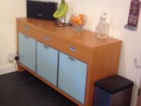 Glass and wooden sideboard