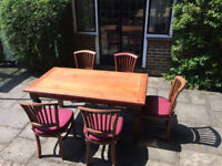 Teak Garden Table and 5 chairs