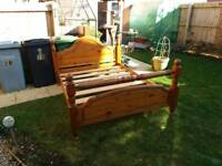 Solid pine double bed base