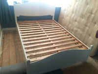 DOUBLE SOLID BED WITH 4 BIG SIDE DRAWS - Good condtion - Quick Sale - RRP £800