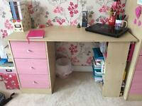 Pink desk workstation with drawers and shelves