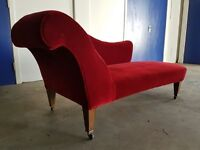 ANTIQUED RED / MAROON FABRIC VELOUR UPHOLSTERED CHAISE LOUNGE DELIVERY AVAILABLE