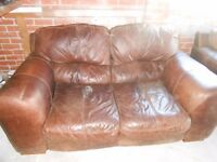 Brown leather 3 pce suite