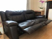 Large two seater leather recliner sofa