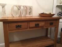 Solid oak console table with 3 drawers and bottom shelf