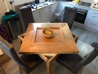 Stunning Solid Oak Dining Table and High Backed Chairs for sale