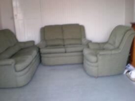 G plan Three piece suite - Green fabric