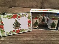 Christmas mug and coaster set (for 2) - brand new, still in box