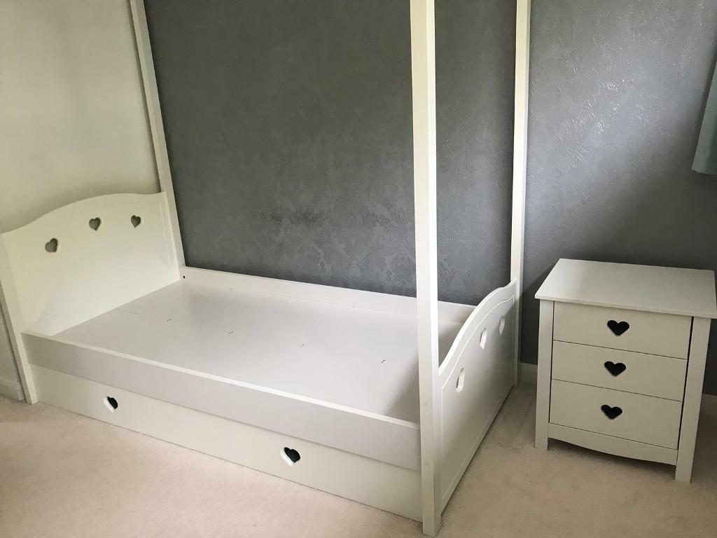 Mia single 4 poster bed frame and Mia 3 drawer bedside cabinet.