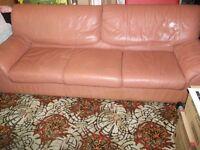 Large leather hardwood 3 seat sofa