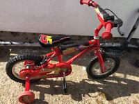 """Disneys Cars Lightening Mcqueen Bicycle Bike 12"""""""