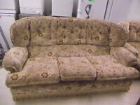 SETTEE AND ARM CHAIR IN VELOUR GOOD CONDITION.