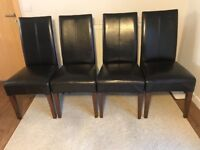 Four dining room chairs. Basket weave backs