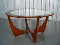 Teak Circular Glass Topped Coffee/ Occasional Table Manufactured By G-Plan