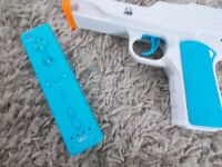 wii official motion plus blue controller with gun