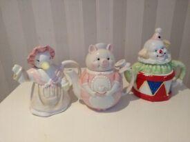 3 x Vintage Teapots - Ceramic Duck Pig Maid Clown Tea pot Red White pink Retro Circus