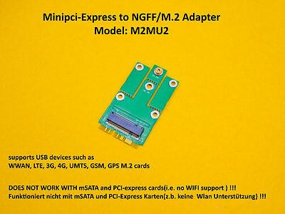 miniPCI-express to M.2 NGFF (USB) Adapter for LTE,UMTS,3G,4G, WWAN card M2MU2