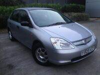 2001 HONDA CIVIC SILVER 1.4 i LE, 5 DOORS, EXCELLENT SERVICE HISTORY, RELIABLE AND CHEAP TO RUN