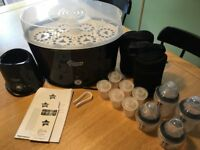 Tommee Tippee complete baby feeding steriliser kit in black. Great condition