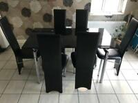 Dining Table Black Glass and Chrome Extendable with 6 black chairs