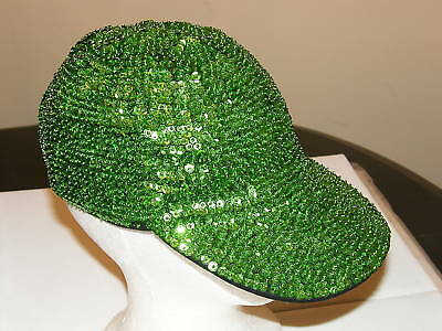 BASEBALL CAP HAT NEON LIME GREEN GLITTERING SEQUIN St Patricks Day / Christmas](Sequin Baseball Hat)