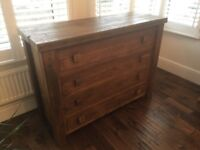 Reclaimed wood bedroom furniture set: King bed, Wardrobe, Chest of drawers