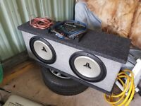 """Twin 10"""" subwoofer unit with amplifier"""