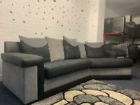 Grey & Black curved corner sofa £150 delivery 🚚 sofa suite couch