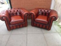 A Pair Of Conker Brown Leather Chesterfield Club/Armchairs