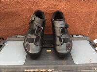Specialised helmet and shimano pedals and size 8 shoes