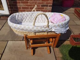 Moses Basket with frame, Crib, Mothercare.