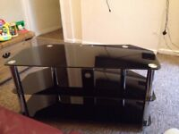 Large Black Glass and chrome Tv stand