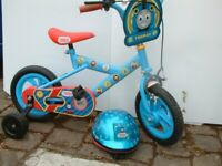 Kids Thomas the tank bike with helmet in excellent condition